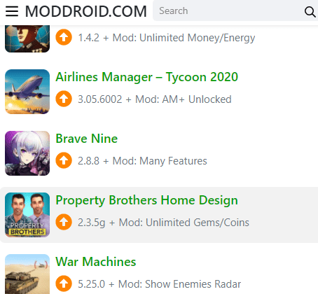 """Features of """"ModDroid Download"""""""